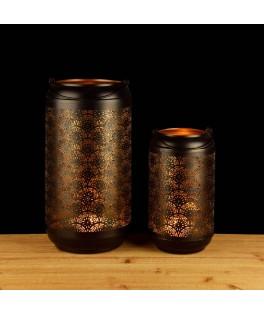 Set de 2 Lanternes métal noir Sunrise