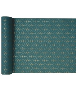 Chemin de table Art Deco vert et or