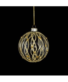 Boule de Noël transparente avec or 8 cm