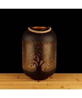 Grande Lanterne Lucky Tree métal noir/or