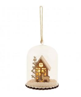 Globe avec maison de Noel bois/verre
