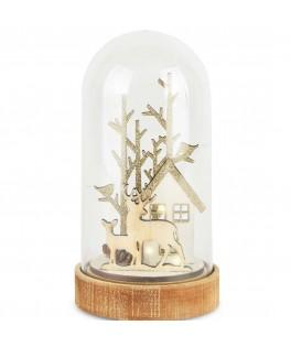 Globe avec rennes en bois