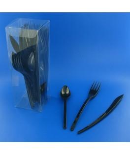 Couverts en plastique noirs  x30
