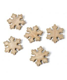 5 Flocons bois cérusé contour paillettes cuivre 6 cm