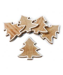 5 Sapins bois cérusé contour blanc 6 cm