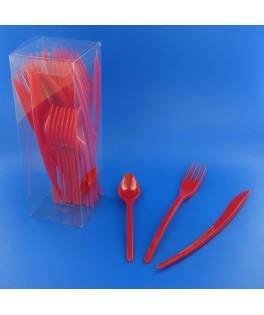couverts en plastique rouges