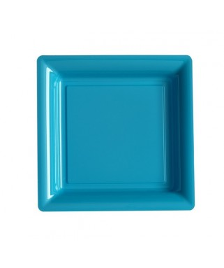 assiettes carrees turquoise
