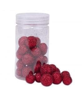 Boules polystyrène paillettes rouges