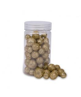 Boules polystyrène paillettes or