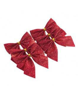 6 Noeuds adhésifs paillettes rouges 5,5 cm