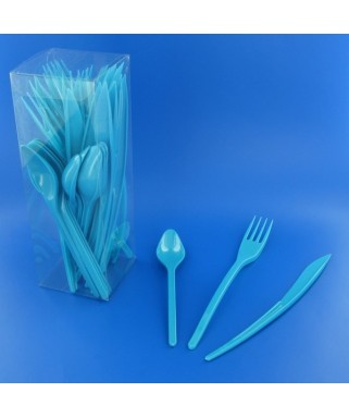 couverts en plastique turquoise