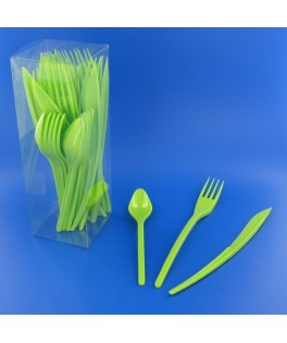 couverts en plastique vert anis