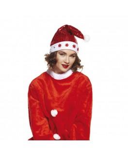 Bonnet Père Noël sequins lumineux