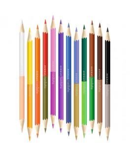 Tube 12 Crayons de couleur double pointe