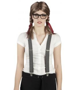 Perruque Nerd fille à tresses et lunettes