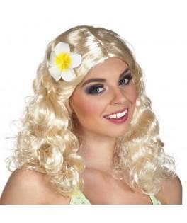 Perruque Lilani blonde avec fleur