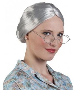 Perruque chignon grand-mère gris