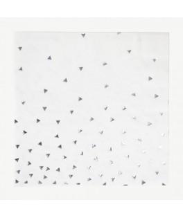 8 Serviettes triangle argent - 23 cm