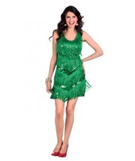 Déguisement Robe sequins et franges Dazzle vert