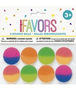 8 Balles rebondissantes fluo multicolores