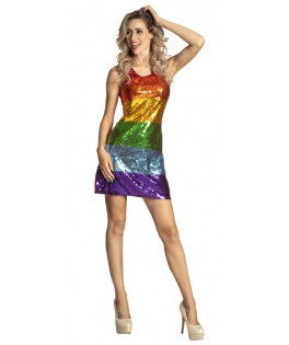Déguisement Robe Sequins multicolores