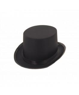 Chapeau Haut de forme Gibus satin noir luxe