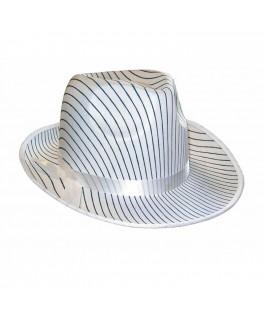 Chapeau Borsalino tissu blanc rayé