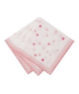 serviettes roses pois