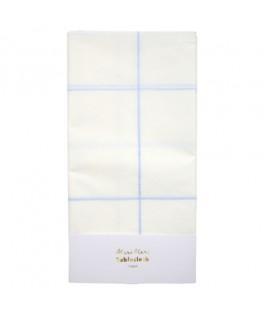 Nappe en papier quadrillage bleu 2,6 mètres
