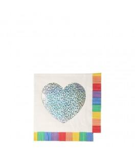 20 Petites serviettes Coeur à franges