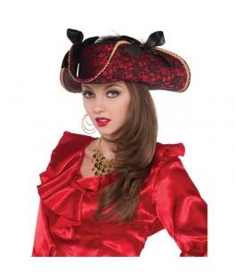 Chapeau Pirate Tricorne tissu rouge