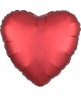 Ballon Coeur satiné rouge
