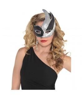 Masque Vénitien noir sequins argent