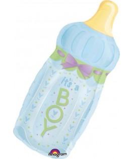 Ballon Baby Shower forme Biberon Boy bleu