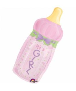 Ballon Baby Shower forme Biberon Girl rose
