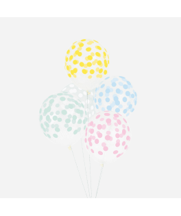 5 Ballons confettis pastel (assortiment multicolore)