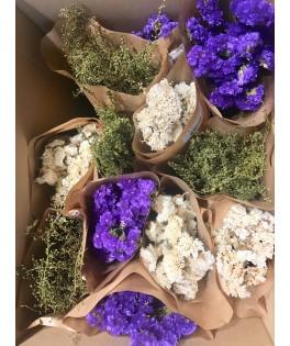 Botte de fleurs séchées - Assortiment Violet/Blanc/Vert
