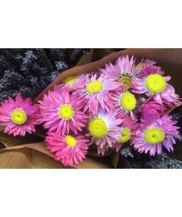 Botte de fleurs séchées - Assortiment Rose/blanc
