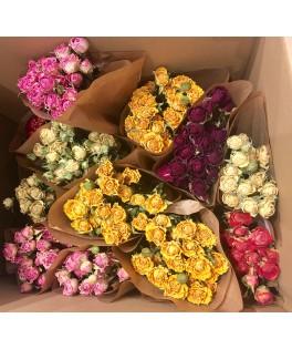 Botte de fleurs séchées - Assortiment de roses
