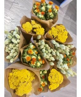 Botte de fleurs séchées - Assortiment Jaune/Vert