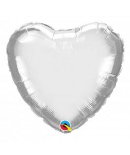 Ballon Coeur Chrome Argent