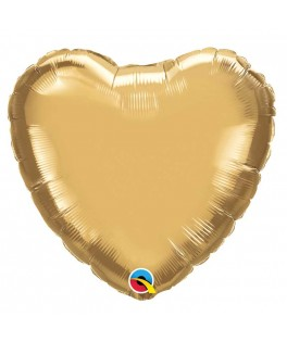 Ballon Coeur Chrome Or