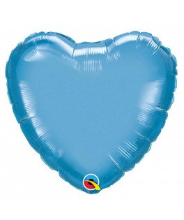 Ballon Coeur Chrome bleu