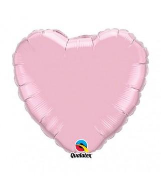 Ballon Coeur Chrome Rose pâle