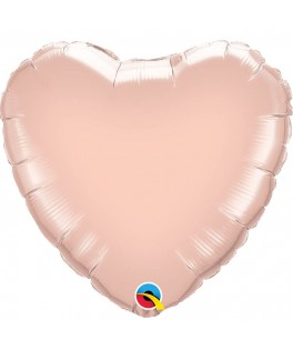 Ballon Coeur Chrome Rose pâle
