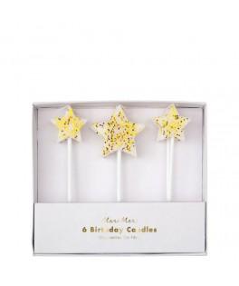 6 Bougies d'anniversaire Etoiles dorées