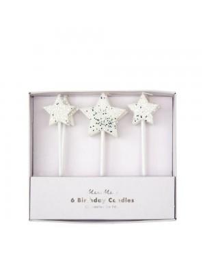 6 Bougies d'anniversaire Etoiles argentées