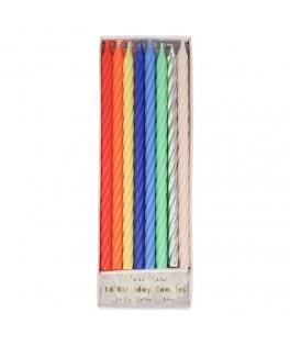 16 Bougies d'anniversaire torsadées multicolores