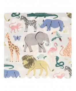 20 Grandes serviettes Animaux Safari