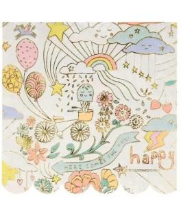 16 Petites serviettes Happy Doodle